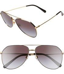 dolce & gabbana 59mm aviator sunglasses in gold/black gradient at nordstrom