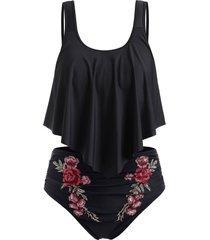 plus size overlay embroidery bikini swimsuit