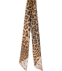 saint laurent leopard-print silk-chiffon scarf - brown