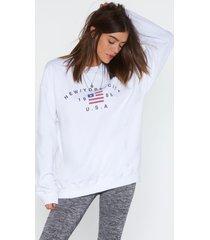 womens new york state of mind sweatshirt - white