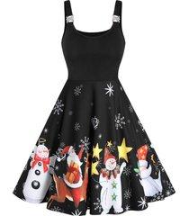 christmas santa claus snowman print sleeveless flare dress