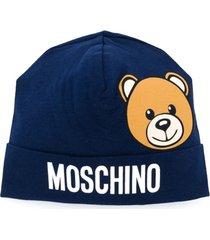 moschino kids chapéu com estampa de lofo teddy bear - azul