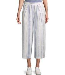 striped cotton wide-leg pants