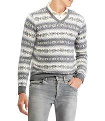 pattern v-neck sweater