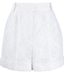 alexander mcqueen high-waisted lace shorts - white