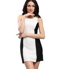 vestido bicolor crepé blanco nicopoly