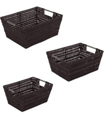 simplify rattan tote baskets set, 3 piece