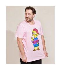 camiseta masculina plus size lisa simpson manga curta gola careca rosa claro