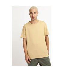 camiseta masculina manga curta gola careca bege