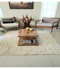 .tapete de algodão para sala/quarto- 2 x 2,5m -cor cru alto