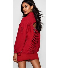 distressed oversize jean jacket, red