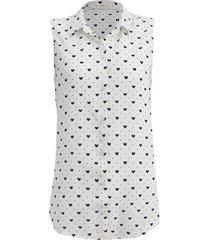 camisa intens sem manga corações branca/azul