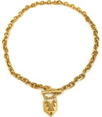 kemi designs women's 14k gold plated chunky chain toggle necklace with mayan pendant