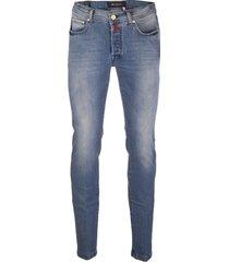 kiton blue denim stretch straight jeans