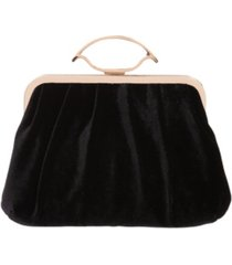 la regale matte velvet pleated pouch clutch