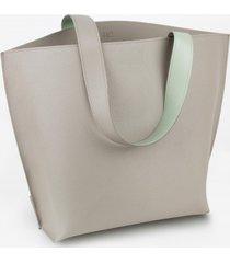 torba skórzana szaro miętowa bolsa de compras número tres
