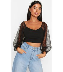 effen blouse van dobby-mesh voor korte maten, zwart