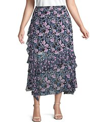 plus botanical-print ruffled midi skirt