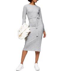 women's topshop long sleeve knit midi dress, size 4 us - grey