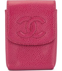 chanel pre-owned 2000-2002 cc cigarette case - pink