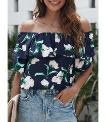 blusa con hombros descubiertos y estampado floral al azar en azul marino diseño