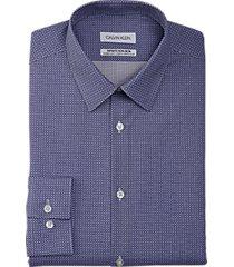 calvin klein wicking extreme slim fit dress shirt ink blue pattern