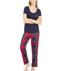nautica women's scoop neck top & matching plaid pajama pants, online only