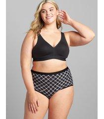 lane bryant women's cotton full brief panty 34/36 black plaid