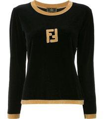 fendi pre-owned long sleeve fitted sweatshirt - black