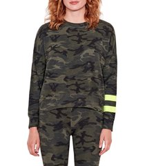 women's sundry arm stripe camouflage sweatshirt