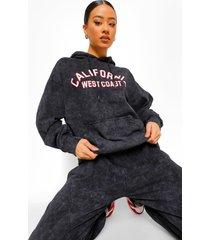 oversized gebleekte california hoodie, charcoal