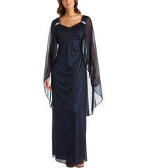 r & m richards plus size empire-waist cape gown