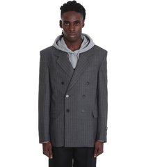 balenciaga blazer in grey wool