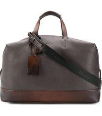 santoni two tone weekend bag - brown