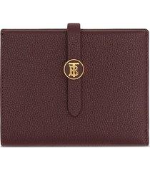 burberry monogram motif grainy folding wallet - red