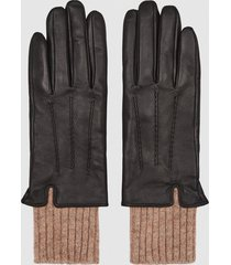 reiss yolyn - leather gloves in black, womens, size l