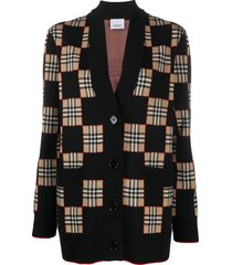 burberry vintage check patchwork cardigan - black