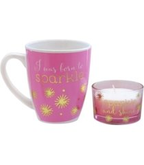 american atelier pink sparkle mug and matching candle jar 2-piece set