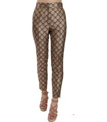 jacquard metallic tapered broek broek