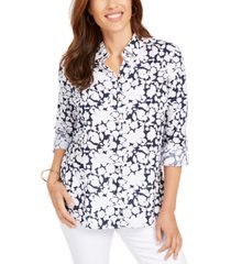 charter club petite floral-print button-front linen-blend shirt, created for macy's