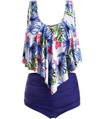 floral print plus size high waist tankini set