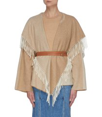 belted tassel fringe wool cashmere blend shawl jacket