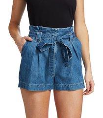 l'agence women's hillary paperbag-waist denim shorts - concord - size 29 (6-8)