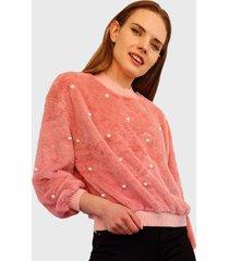 sweater nrg perlas peludito rosa - calce holgado