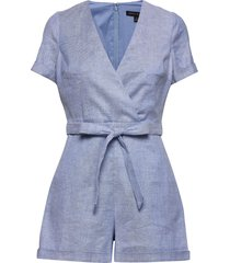 cotton-linen blend romper jumpsuit blauw banana republic