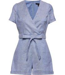 cotton-linen blend romper jumpsuit blauw banana republic