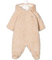 bonpoint teddy hooded romper - neutrals
