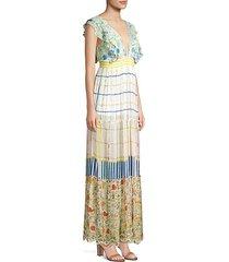 mixed-print flutter sleeve long peasant dress