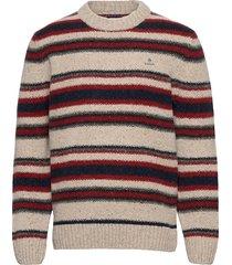 d2. texture stripe neps crew stickad tröja m. rund krage röd gant