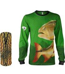 camisa + máscara pesca quisty dourado o rei do rio verde proteção uv dryfit infantil/adulto - camiseta de pesca quisty